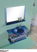 Colorful Special Design Bathroom Glass Washbasin