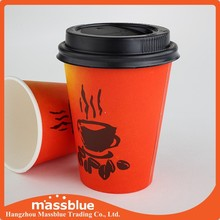 Custom logo Printed Disposable Paper Cup with Lid, double wall paper cups with lid, ripple wall paper cups with lids
