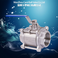 Stainless steel 1000wog 3pc 316 thread ball valve