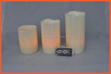 Wax Flameless Flickering LED Resin Ivory Pillar Candles with Remote Control Set of 3, YELLOW FLICKERING led CANDLE