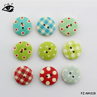 15MM Round shape Grip Printed Wood buttons For clothing craft decorations