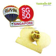 custom remax singapore sg50 metal lapel pin/Custom lapel pin badge with over printing logo