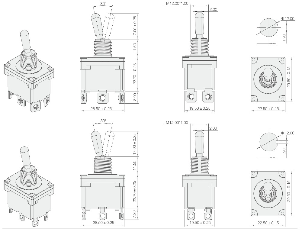 toowei dpdt ip67 waterproof toggle switch double momentary