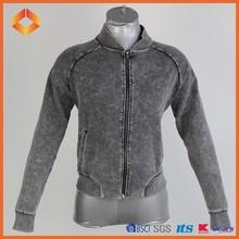 2015 novelty simple design women acid wash french terry jacket