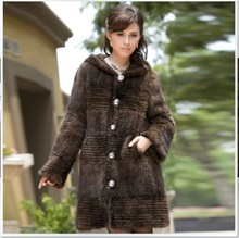 CDK007 Wholesale 2014 Hot Sale women Europe Design Long Women Winter Hood Knitted Genuine Mink Fur Coat