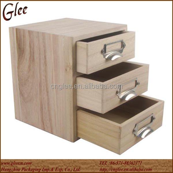 petite bo te de rangement en bois massif bo te de tiroir en bois 3 tiroirs tiroir de rangement. Black Bedroom Furniture Sets. Home Design Ideas