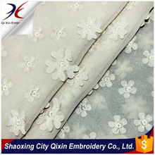 SHAOXING 2014YEAR 100%POLY CHIFFON LASER CUT EMBROIDERY FABRIC WITH FLOWER DESIGN