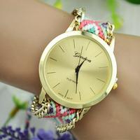 Free Shipping Handmade Braided Bracelet Watch Geneva Hand-Woven wristwatch Ladies Quarzt gold Watch women dress watches