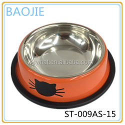 Novely orange color stainless steel pet bowl dog water bowl item ST-009AS-15