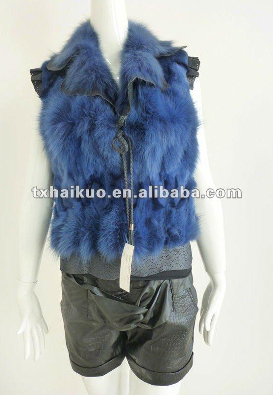 mode réel vest fourrure de lapin avec col et revers flouncy manches pour les dames