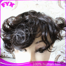 High quality natural color wave texture indian men hair toupee wigs