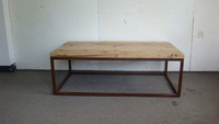 vintage industrial metal coffee table with wood top