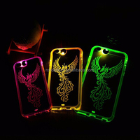 LED Incoming Call 9 colors Flash Cover Clear hard pc back cover with soft tup bumper case for iphonr 6 4.7 inch