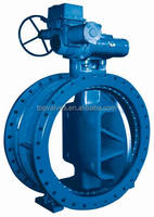 blue double Flange Butterfly Valve with worm gear