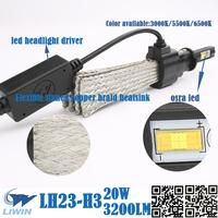 LW High Power Factory Price Waterproof 20w 3200lm 3000k 5500k 6500k Bi Led Headlight auto lamp foglight