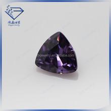 fancy shape violet color cubic zirconia stones cz fat triangle cut