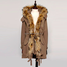 2015 New Design Winter Fashion Raccoon Fur Collar Coat With Good Price