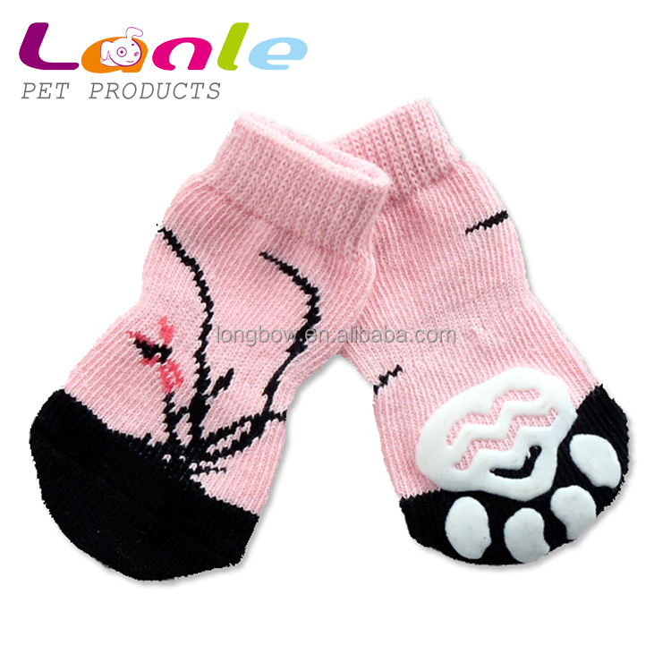 Knitting Pattern For Dog Socks : Lanle Hot Dog Socks Pet Products,Flower Pattern Knitting Dog Waterproof Socks...