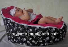 Skull base with dark pink baby beanbag sleeping chairs, kids bean sofa portable cushion seat