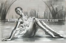 bailarina de ballet retrato pintura al óleo sobre lienzo