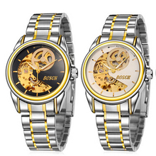 2015 newest fashion automatic mechanical black skeleton mens watch ME-01