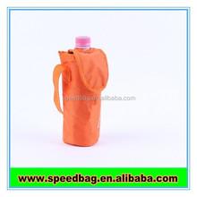 Orange polyester cooler bag Sports Outdoor Shoulder strap water Bottle Cooler Bag