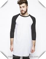 New Fashion Mens Super Longline T Shirts Contrast Raglan 3/4 Sleeve Tees Wholesale 100% Cotton Plain Long T Shirts Made In China