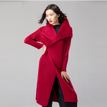 Bright red color elegant brand designer overcoat winter warm pleated long coat for women