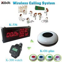 Simple Waiter Bell Calling System K-336 Big Display With K-300 Watch Pager K-O1plus Waterproof Buzzer