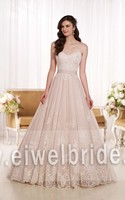 S1244 Sweetheart pink appliqued ribbon tulle korean style wedding dress