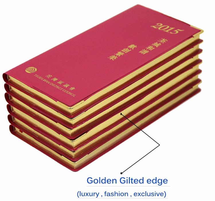 사용자 정의 로고 노트 책 인쇄 가죽 커버 황금 금박 가장자리 노트북 포켓 작은 레드 의제 일기 회의 노트북