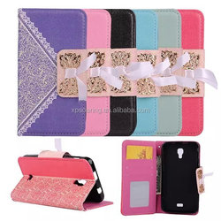 Lace wallet leather case pouch for Wiko Bloom, credit card case with stand for Wiko Bloom