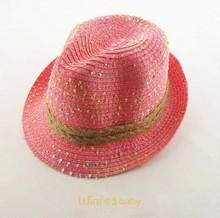fashion custom kids baby children mix color Panama Fedora straw hat summer beach sun hat with ribbon