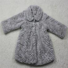 Kids Wholesale Man- made Grey Faux fur PV Plush Coat