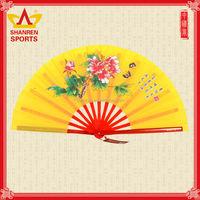 Custom printed favor flower manual silk bamboo kung fu fan for dance