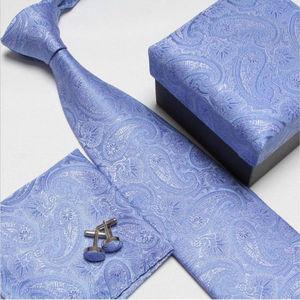 uomini moda di alta qualità collo cravatta set cravatte gemelli fazzoletti cravatte di seta