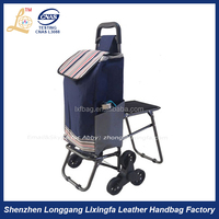 Professional factory wholesale polyester oxford trolley shopping bag with wheels and seat