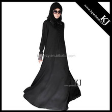 KJ-20150310 kyle and jane fashion black lace collared abaya muslim young girl jilbab for UK