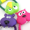 Vinyl Funny Animal Face and Rope Toy for Pet