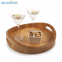new design round bamboo serving trays for bar or hotel