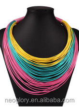 2015 New Fashion Chunky Necklace Colorful Tassel Multi Row Layered Waxed Cotton