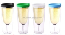 Double Wall Insulated Acrylic Wine sippy cup plastic beer and wine tumbler