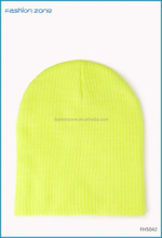 Bright neon yellow plain solid winter knitted beanie hat