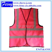 pink disposable safety vest with multicolor with ENISO 20471 hi vis reflective tape