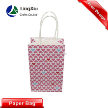Colorful pink heart kraft gift paper bag with paper handle