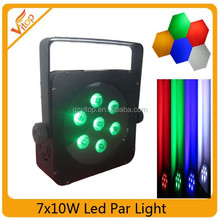 Stage led par 64 , led flat par light IP 65, 7pcs 10watt rgbwa 5in1 led par light