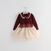 Latest new design kids casual dresses girl dress of 9 years old