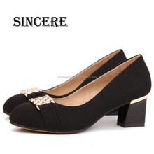 Factory Wholesale Square Heel Synthetic Upper Classic Women Dress Shoes