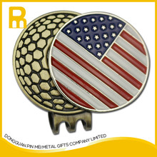 Fashionalbe antique brass golf cap with ball marker customized logo