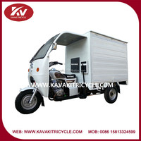 Wholesale China Guangzhou popular white cargo tricycle with closed cargo box and windshield